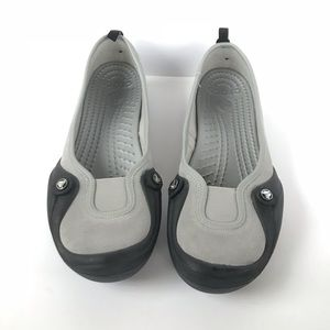 Women's Gray and Black Crocs Size 11 Wide